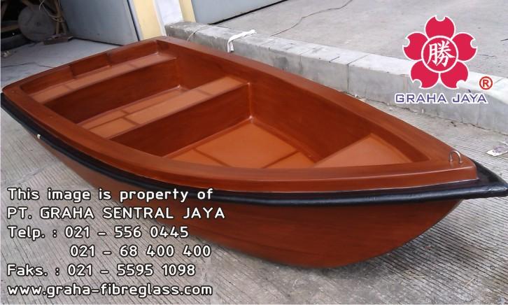 perahu dayung fiberglass motif kayu